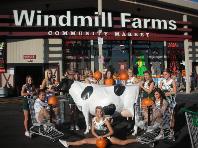 Patrick Henry High Cheerleaders get into the Halloween spirit at Windmill Farms