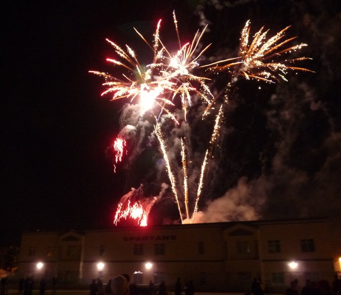 Fireworks concluded the Chula Vista Spartans homecoming ceremony