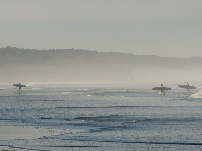 Surfers leave the water after an early morning surf session at Cardiff reef. Taken Jan 18, 2009.