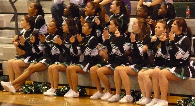 Helix cheerleaders cheer on the Highlanders