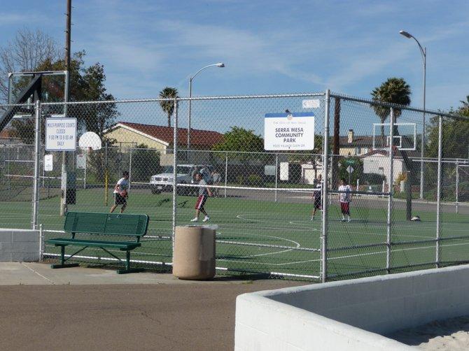 Playin' basketball at Serra Mesa Community Park