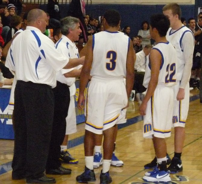 Mira Mesa head coach Dan Regas talks to Marauders players during a timeout