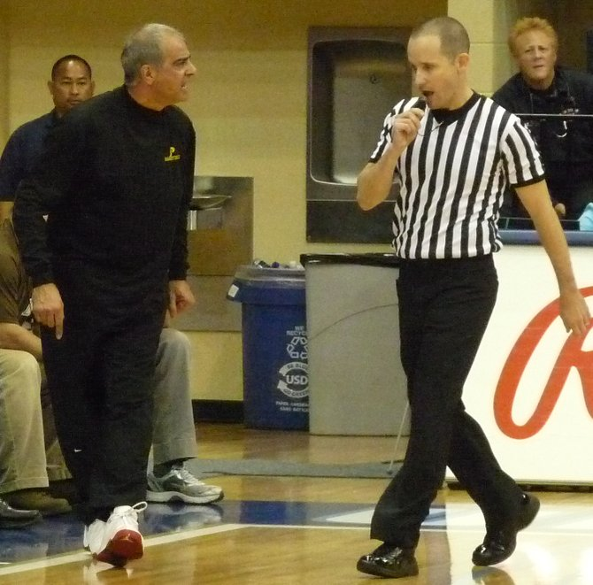 Francis Parker head coach Jim Tomey voices his displeasure with an official