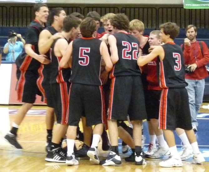 La Jolla players celebrate after the final buzzer sounds