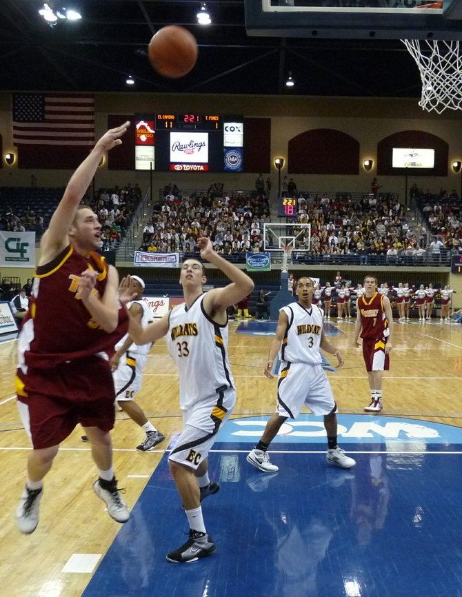 Torrey Pines center Colin Porter puts up an off-balance shot