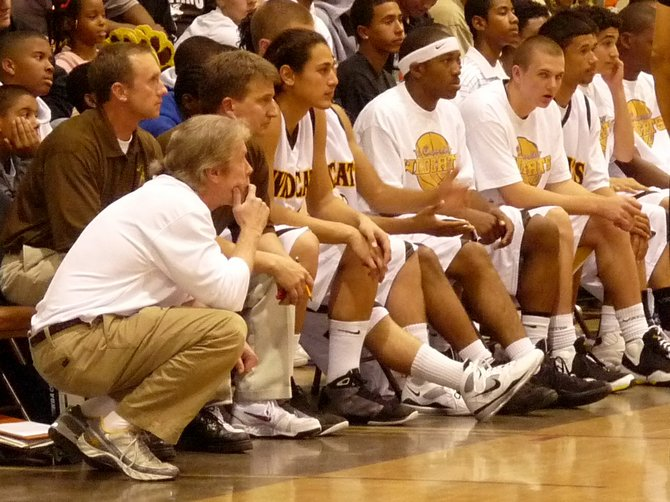 El Camino head coach Ray Johnson and the Wildcats bench
