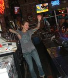 Mel, the bartender, having fun on Metal Mondays at Pier View Pub/Bubs Whiskey Dive