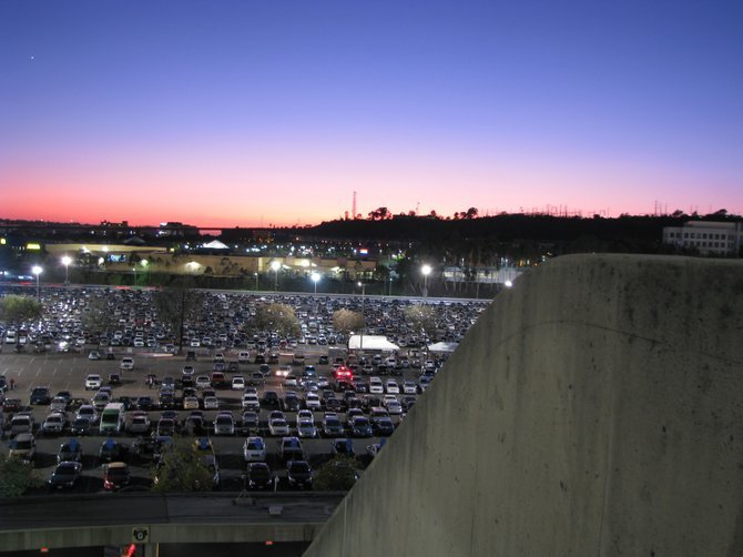 Westbound view of the Qualcomm Stadium parking lot during an SDSU Football game in October.