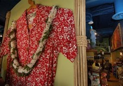 World's largest Hawaiian shirt, according to the Guinness Book of World Records. It hangs in the window of the Gaslamp's Hilo Hattie store at 301 Fifth Avenue. Tailors at Hilo Hattie, one of Hawaii's biggest fashion retailers, made the shirt for its Kamehameha Day parade float in 1986. It measures 14 feet around the chest, 5 feet around the neck, and needed 26 yards of fabric.