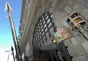 The jeweled crowns and spears guarding the entrance to the Churchill Hotel, 827 C Street, downtown San Diego (no, Winston didn't stay here). The hotel, nearly a century old, was last given a facelift in the 1980s and is due for another later this year.