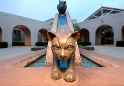 Fountain at Kroc-Copley Animal Shelter, 5480 Gaines Street. The complex features this 2002 fountain sculpture by Alber de Matteis, T.J. Dixon, and James Nelson. The shelter combines facilities of the San Diego Humane Society, SPCA, and the county's Department of Animal Services.