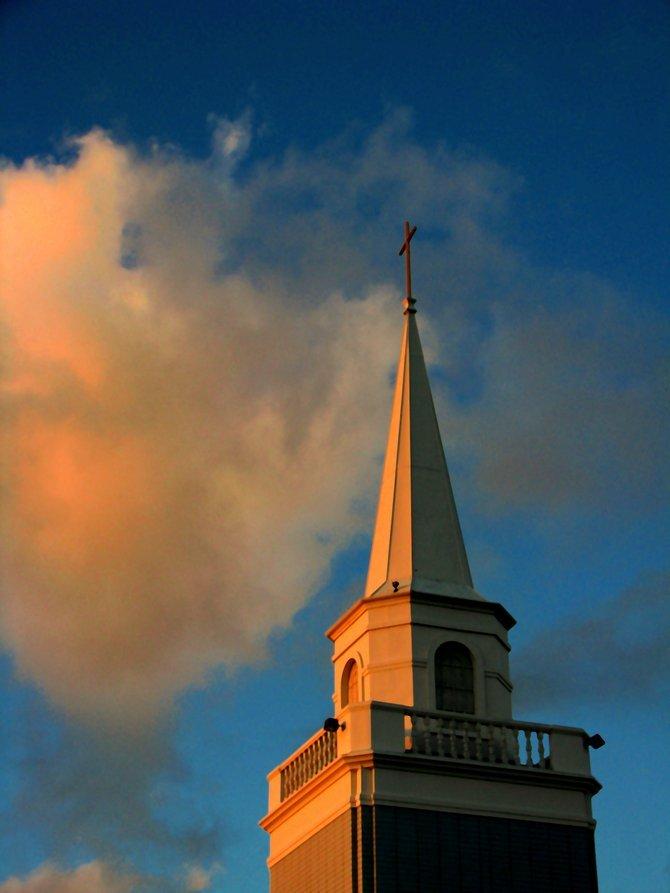 I took this photo at sunset of the Steeple of the Church at the corner of Oregon and Madison in University Heights. I couldn't resist the photo of the clouds with the splash of yellow from the setting sun, with the blazing yellow color on the Steeple. It was a winning combination.