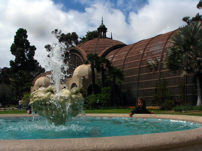 The Botanical Gardens with fountain in foreground.