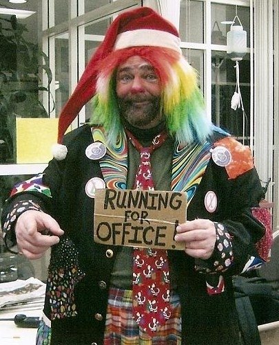 "it's me being a real clown, "" running for office""  I am a comic + clown , I had this whole clown suit custom made spent over $500 on it - I do make people laugh at the gas lamp 5th St. I walk around make everyone LAUGH and LAUGH out loud they DO ! I am a real comic - I have been making people laugh all my life, even when I was born the Dr. Laughed _____ ha ha ha ....."