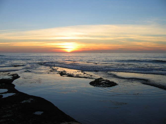 Sunset over La Jolla tidepools, January 2005. Taken by Joe Collins, La Jolla, California.
