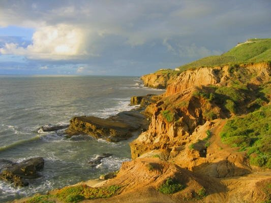 The Cliffs off Point Loma, California at Cabrillo National Monument. Taken by Joe Collins, January 2005.