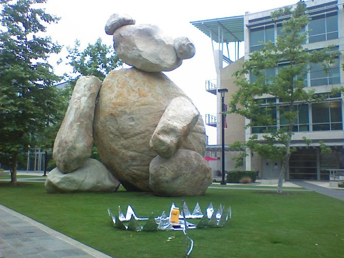 The bear sculpture on campus during last year's finals week along with bear trap