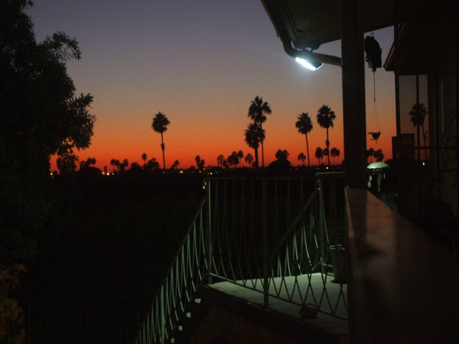 This is the sunset one night from the front porch of our apartment looking over the freeway towards Mission Bay.