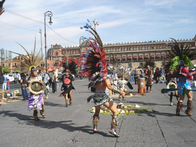 Aztec dancers in El Zocalo, Mexico