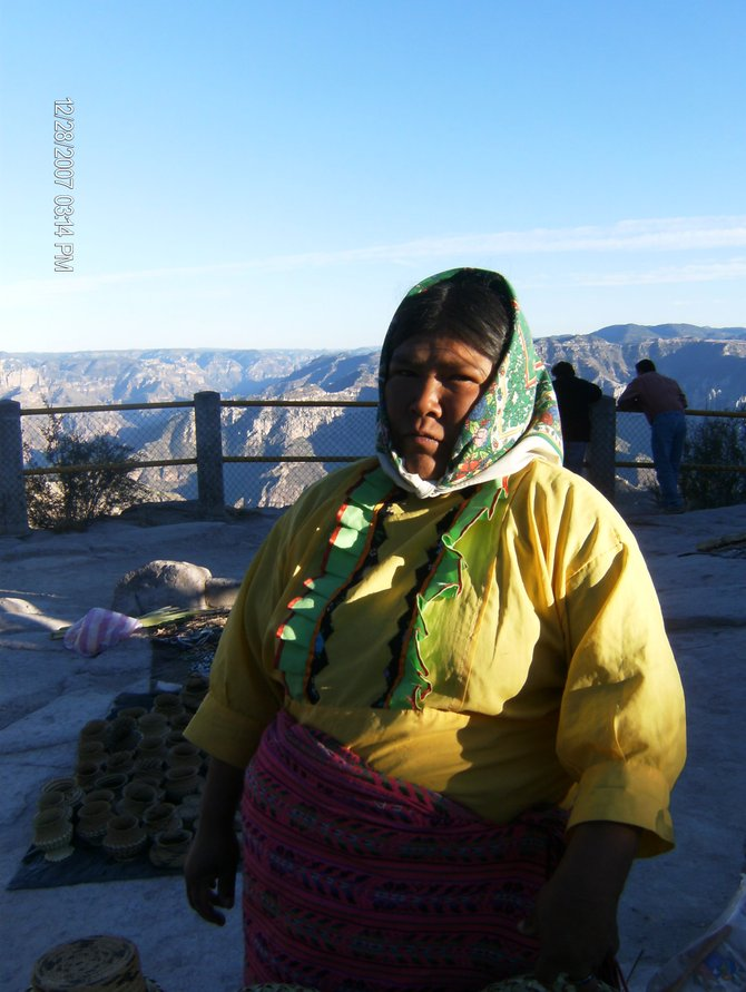 Copper Canyon, Chihuahua, Mexico: Tarahumara lady, in Copper Canyon, selling handmade souvenirs from the area.