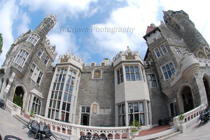 Toronto, Canada: This is the castle in Toronto called Casa Loma that at one time was a private residence. I used a fish eye lens to capture the back of the castle.
