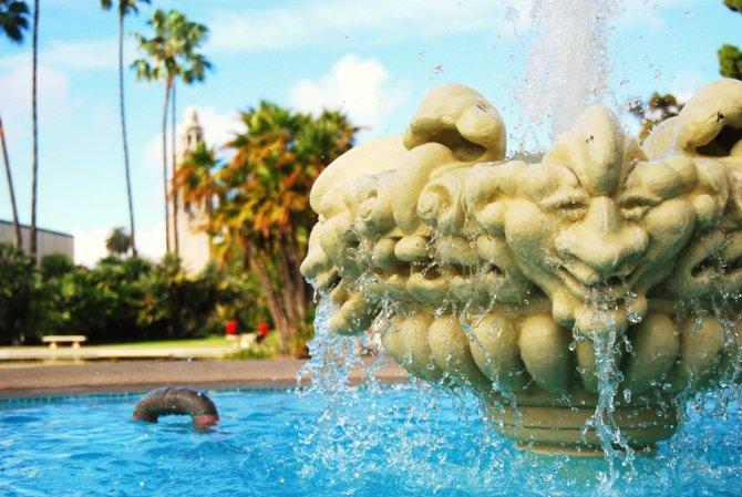 Splashin around a fountain