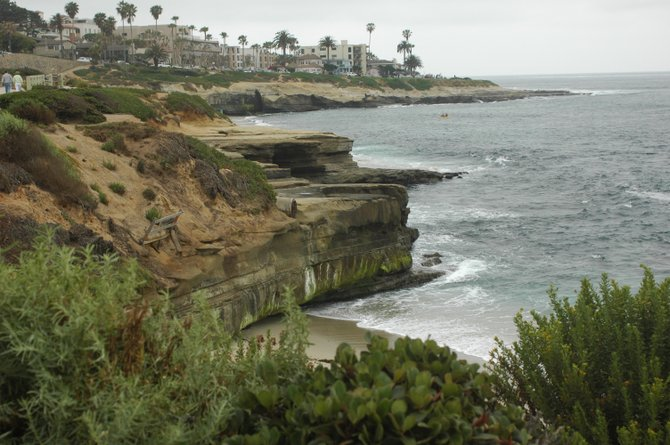 Walking along the coast in La Jolla looking out to sea.