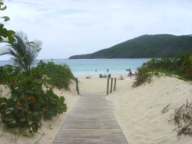 The entrance to beautiful Flamenco beach on the island of Culebra in Puerto Rico.