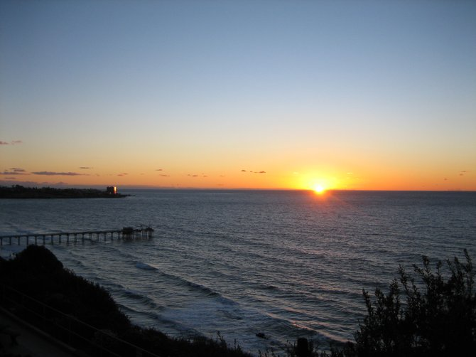 The view of Scripps Pier from NOAA's Southwest Fisheries Science Center at sunset
