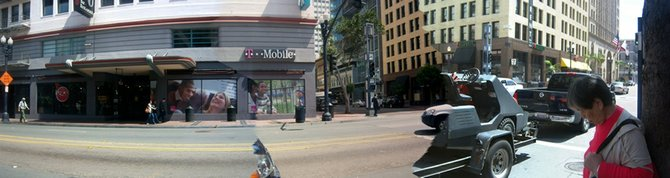 This is a panoramic view of Downtown San Diego right in front of the T-Mobile store.