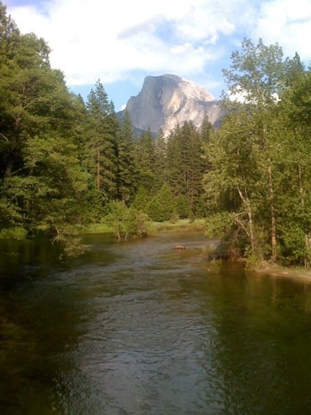 Half Dome as seen from the Sentinal Bridge in Yosemite. I climbed to the top Thursday June 18, 2009. Took 13 hours, 22-miles. Great experience!