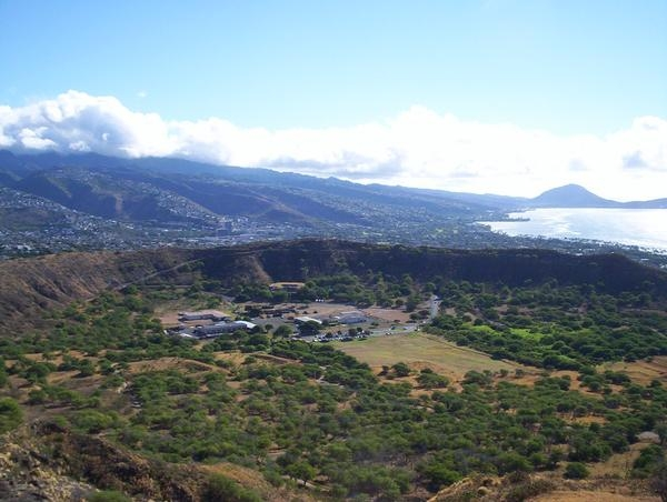 View of the crater of Diamondhead on the island of Oahu