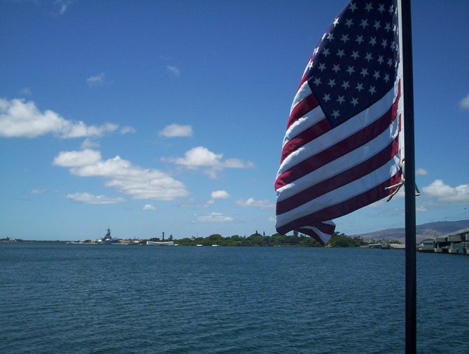 Shot from the shoreline of Pearl Harbor in Hawaii.
