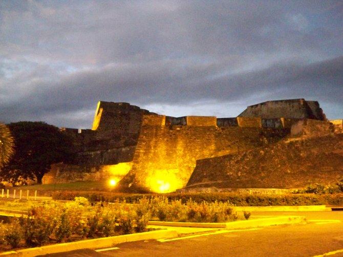 El Castillo San Cristobal lit up against the night sky in San Juan, Puerto Rico.
