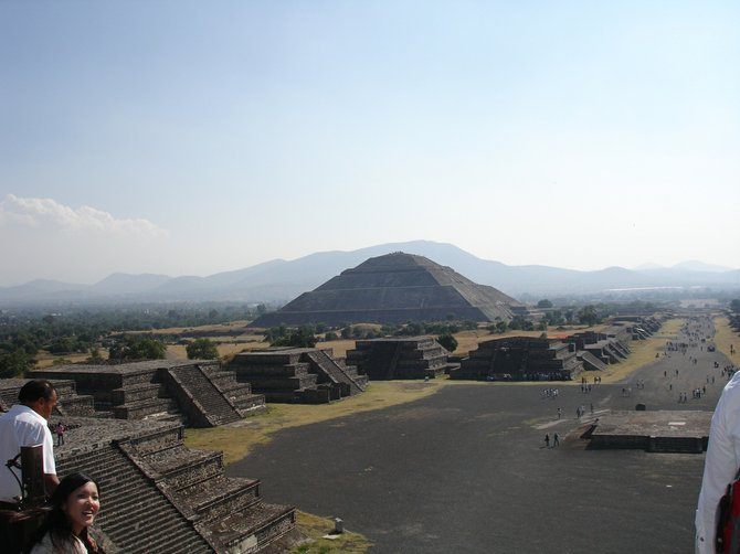 The Avenue of the Dead and the Pyramid of the Sun in Teotihucuan, near Mexico City.