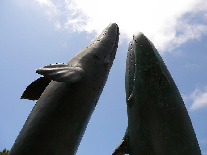 Whales statue at the Birch Aquarium, La Jolla.