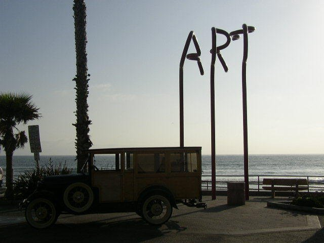 Art spelled out for those who can't tell what is art....unless it's spelled out! Classic Woody is real art. $75,000 worth of bent steel tube's value as art is questionable to say the least.
