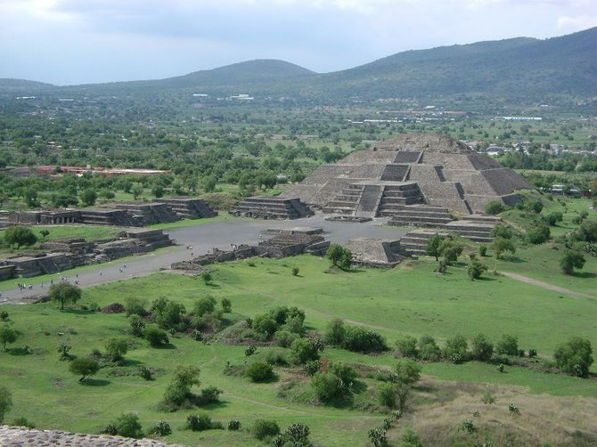 This is a picture of the Moon Pyramid taken from the Sun Pyramid in Teotihuacan, Mexico.