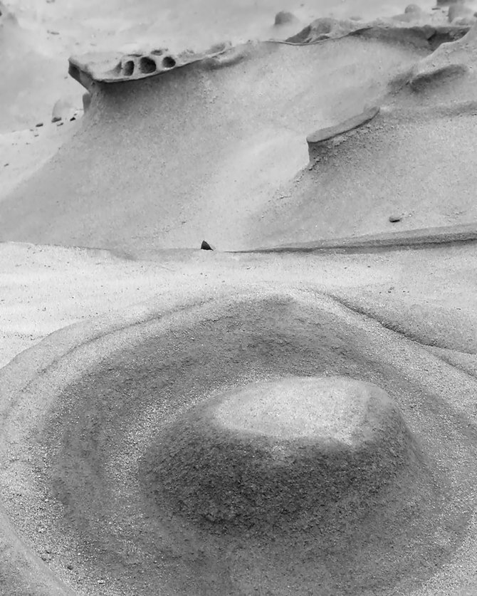 Moon Landing or Cliff Dwelling: Sand formations on a Carmel beach