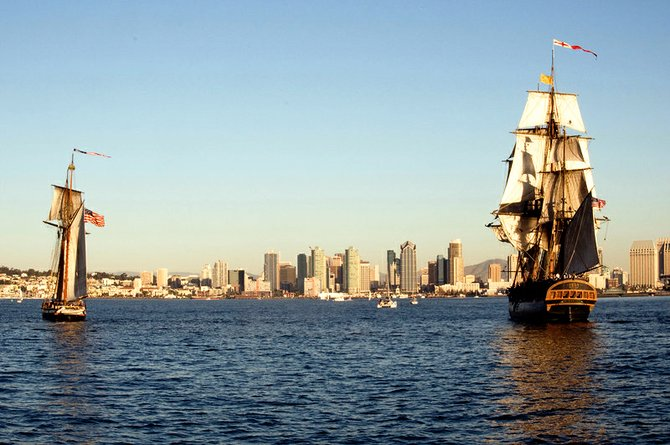 Mock sea battles on San Diego Harbor