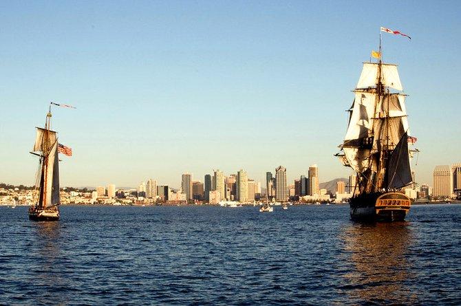 Mock sea battles on San Diego Harbor