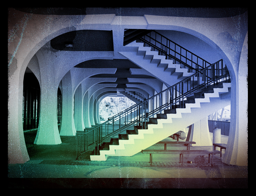 Library Stairs. Shot with black-and-white film, colorized and distressed in Photoshop.