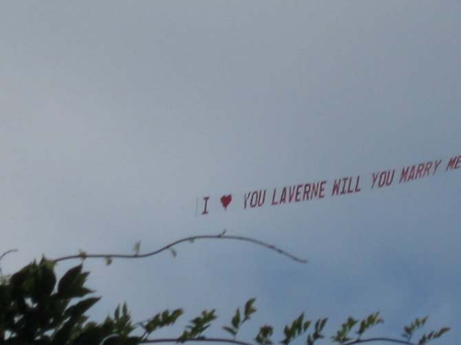 A proposal in the sky during the 2008 Street Scene