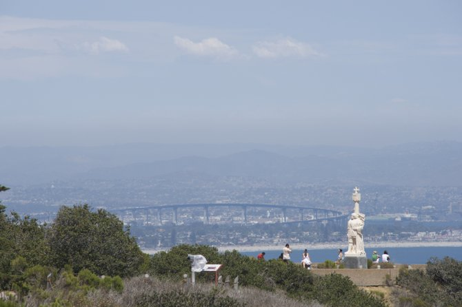 Taken at the Cabrillo Monument Park with Monument in the foreground of the Coronado Bridge.