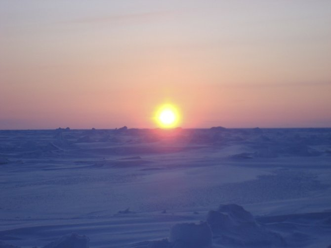 Sunset at an Ice Camp (200 Miles North of Prudhoe Bay, AK) executed by the Arctic Submarine Laboratory where I am stationed here in Point Loma.