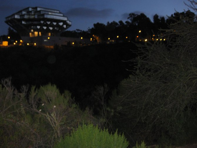 A view of Geisel Library at the end of a long day