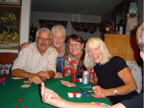 Reunion of Mexican Riviera cruisers circa 25 years ago enjoying commraderie and nickel ante poker.  How fun is that?  Oops, just noticed Jim gave the photographer the bird.  He traveled here from Colorado for the reunion.