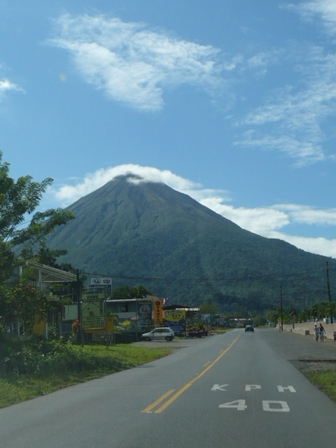 The road into the town of La Fortuna at the base of the active Volcano Arenal in Costa Rica