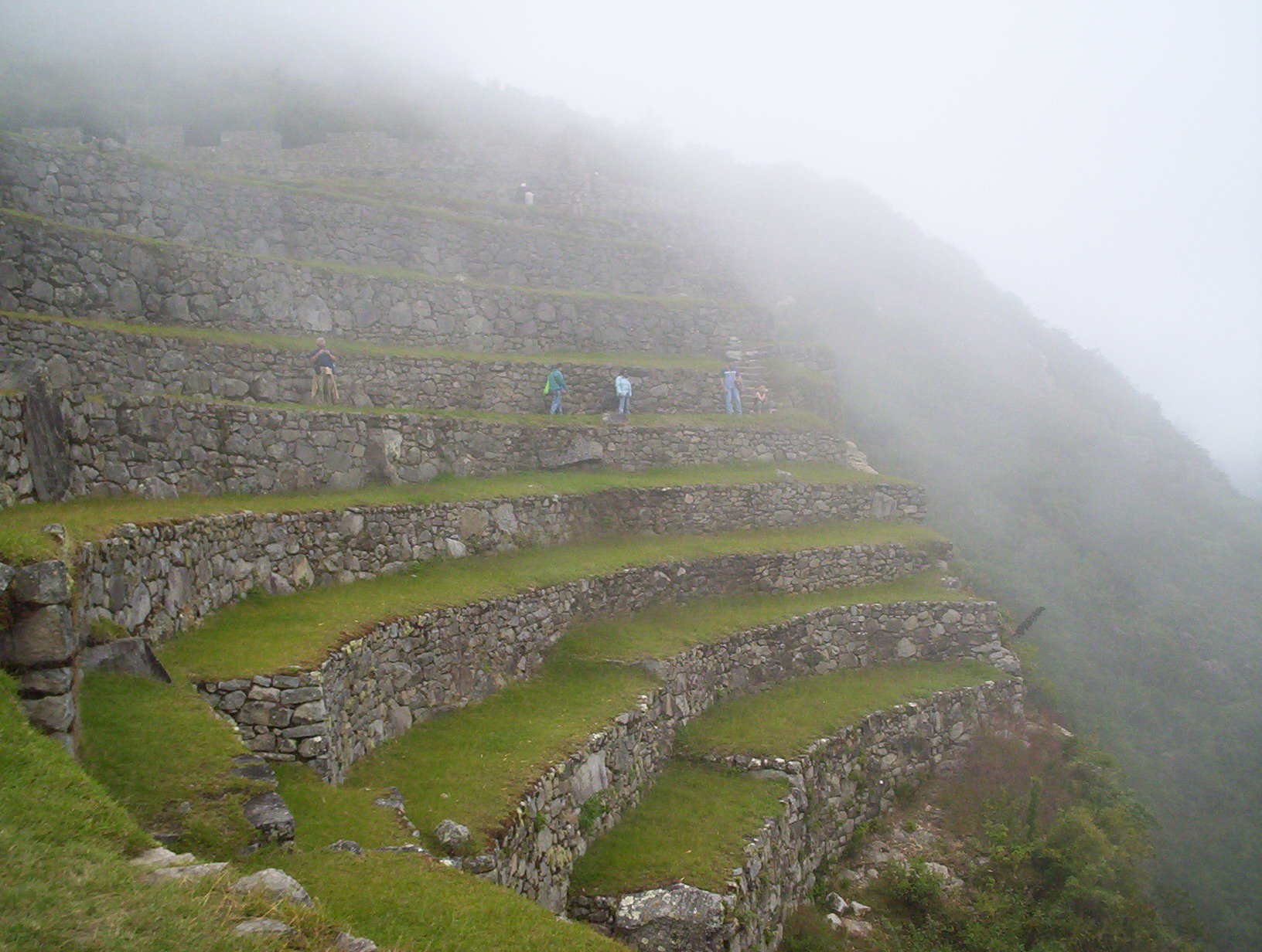 Some low lying clouds envelope the nicely landscaped terraces of Machu Picchu.