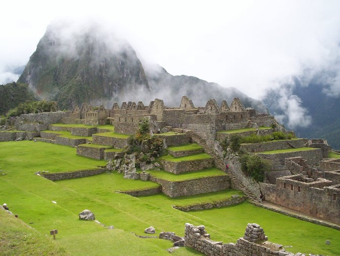 "In the ""center"" of Machu Picchu."